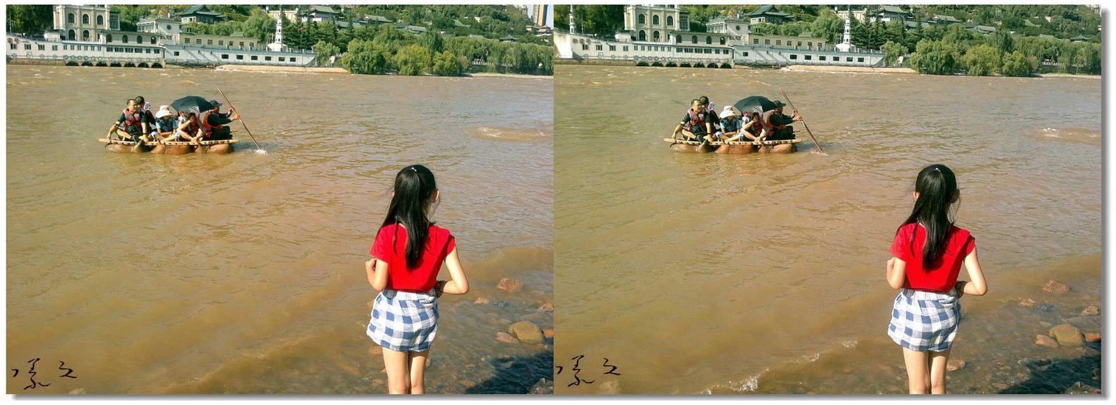 【原创】河边、女孩、羊皮筏... 3