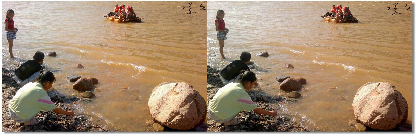 【原创】河边、女孩、羊皮筏... 1