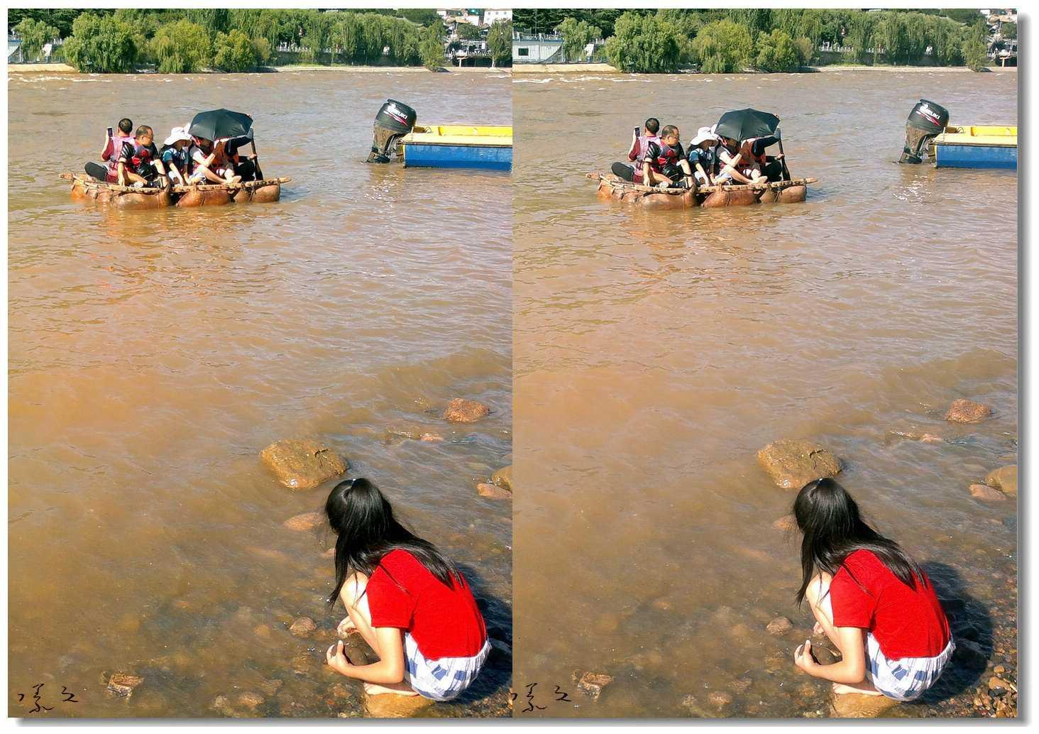 【原创】河边、女孩、羊皮筏... 4
