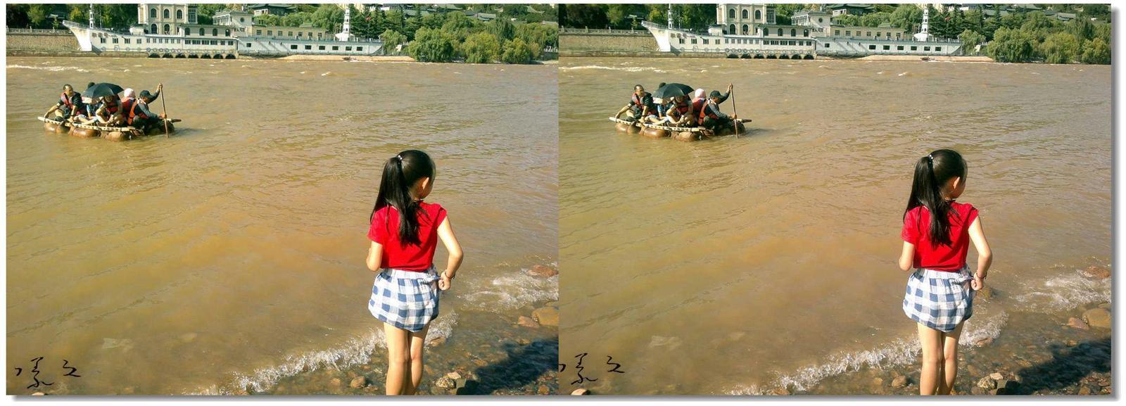 【原创】河边、女孩、羊皮筏... 2