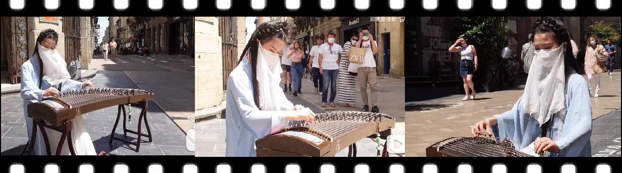 【视频】古装mm外国街头弹古筝
